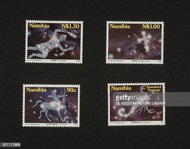 Postage stamps from the series honouring the Constellations visible from Namibia depicting from left to right and from top to bottom Orion the...