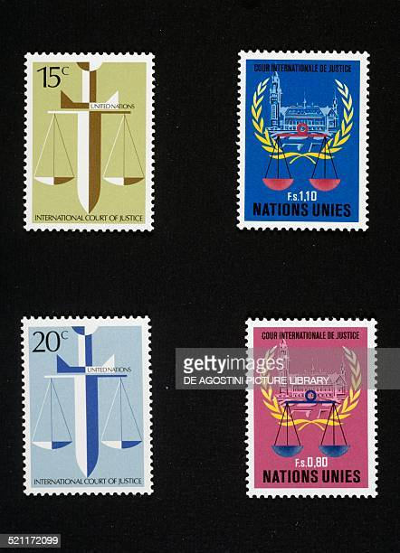 Postage stamps from the series honouring the International Court of Justice 1979 United Nations 20th century Unspecified