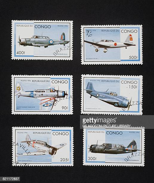 Postage stamps from the World War II planes series depicting from left to right and from top to bottom Blackburn Skua Mk 1 Mitsubishi 981 Vought SB2U...