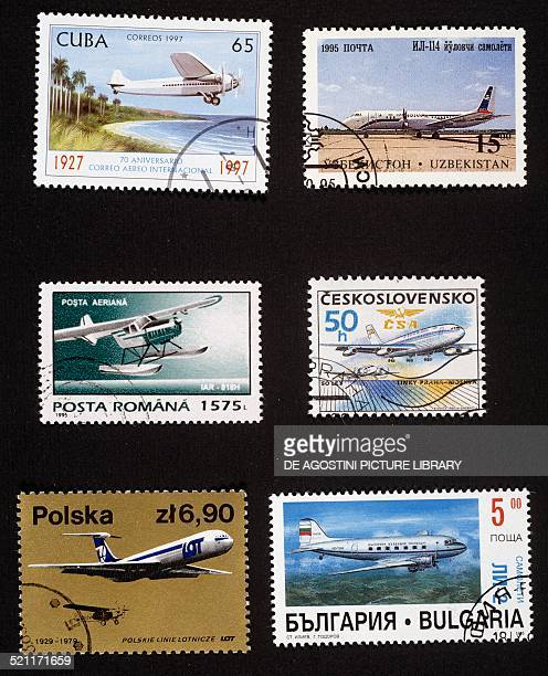 Postage stamps honouring civilian aircraft from left to right and top to bottom postage stamp commemorating the 70th anniversary of International...