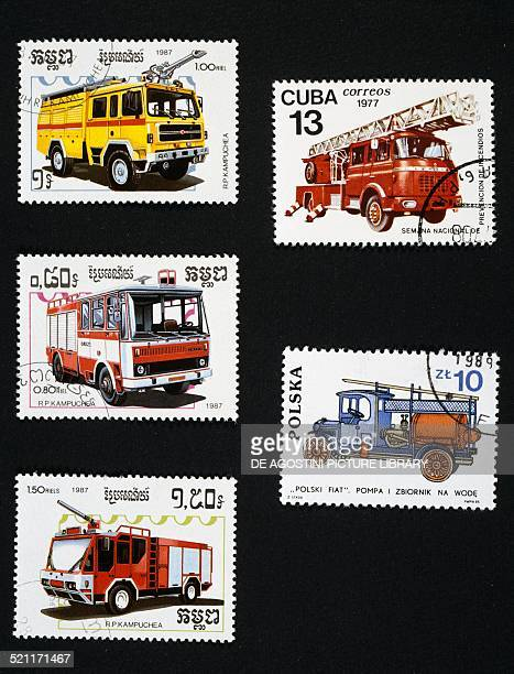 Postage stamps honouring fire engines left postage stamps depicting a Sirmac Saab 424 Cas25 Falcon and Rosenbauer Cambodia top right postage stamp...
