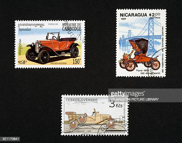 Postage stamps honouring vintage cars top postage stamp depicting a vintage car Cambodia postage stamp depicting a 1908 Ford Nicaragua bottom postage...