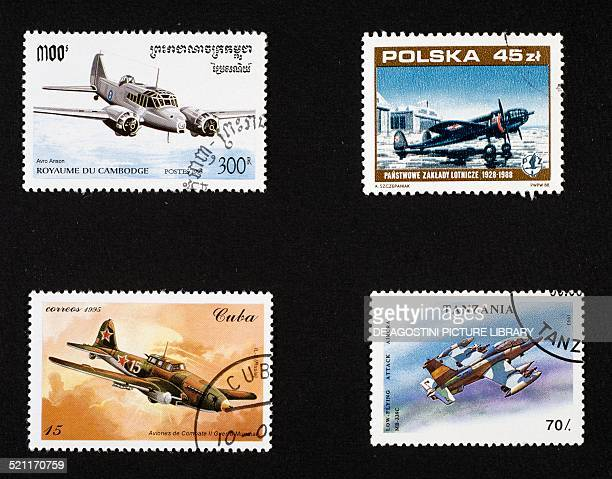 Postage stamps honouring war planes from left to right and top to bottom postage stamp depicting Avro Anson Cambodia postage stamp commemorating the...