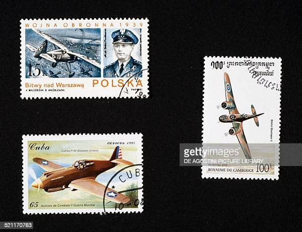 Postage stamps honouring war planes top left postage stamp from the series honouring the air battles of Warsaw depicting the pilot Stefan Pawlikowski...