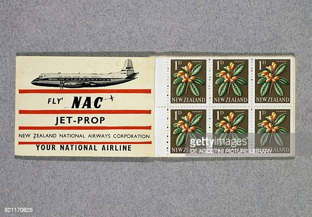 Postage stamps promoting the national airline depicting fruits and leaves of Karaka ca 1960 New Zealand 20th century New Zealand