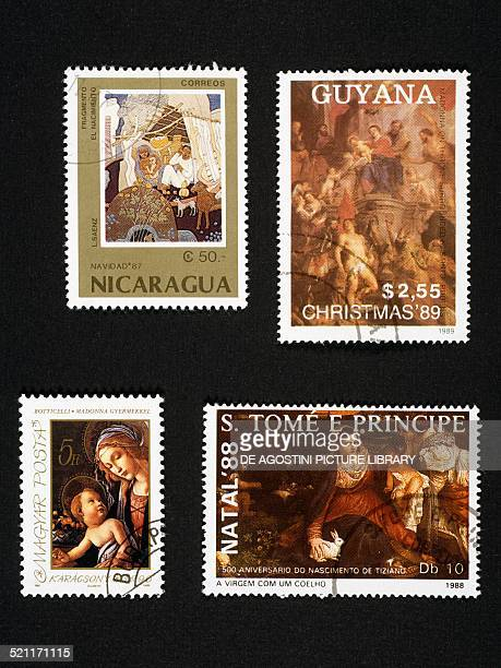 Postage stamps with Christmas themes from left to right and top to bottom postage stamp depicting the Adoration of the Magi Nicaragua postage stamp...
