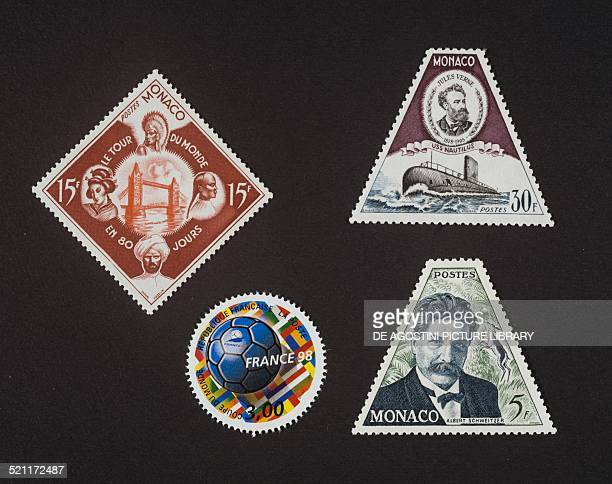 Postage stamps with unusual shapes top left postage stamp from the series commemorating 50th anniversary of the death of Jules Verne depicting Around...