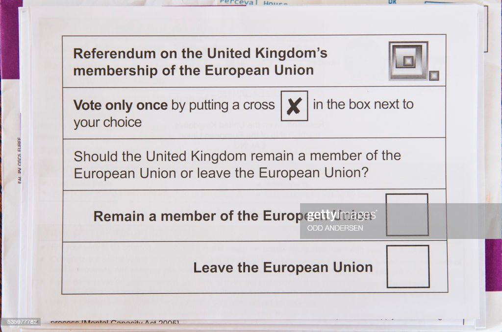 Postal ballot paper for the upcoming EU referendum scheduled for June 23 is pictured on May 30, 2016 in Berlin. British citizens that have lived abroad for less than 15 years are eligible to vote but around two million Brits wont be able to in the UKs upcoming referendum on its membership in the European Union. / AFP / ODD