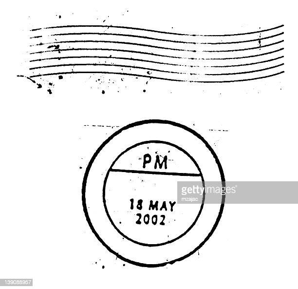 Postal Marks and stamps on white background