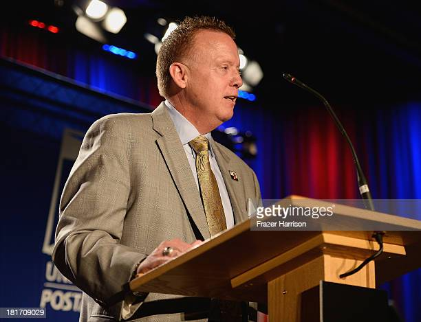 Postal servies Vice President of Sales Cliff Ruckerspeaks at the unveiling of the new Ray Charles stamp at the GRAMMY Museum in Los Angeles Calif on...