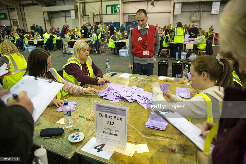 Postal votes are counted at the Royal Highland Centre, Ingliston, Edinburgh on May 5, 2016 in Edinburgh, Scotland. Polling stations are now closed for what has been described as 'Super Thursday', which saw the British public vote in countrywide elections to choose members for the Scottish Parliament, the Welsh Assembly, the Northern Ireland Assembly, Local Councils, a new London Mayor and Police and Crime Commissioners.