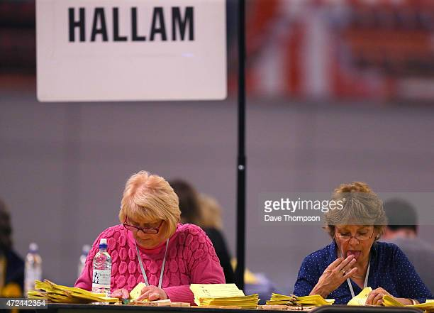 Postal votes are counted prior to the arrival of Liberal Democrat leader and Deputy Prime Minister Nick Clegg during his constituency declaration at...