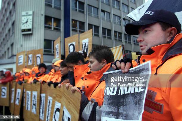 Postal workers take to the streets to protest over the murder of postman Daniel McColgan at a trade union rally in Belfast Trade unions called a...