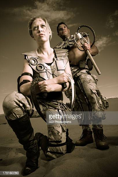 Post-apocalyptic soldiers or warriors in futuristic setting