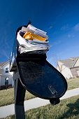 Mailbox full of junk mail with new houses and clear blue sky in the background