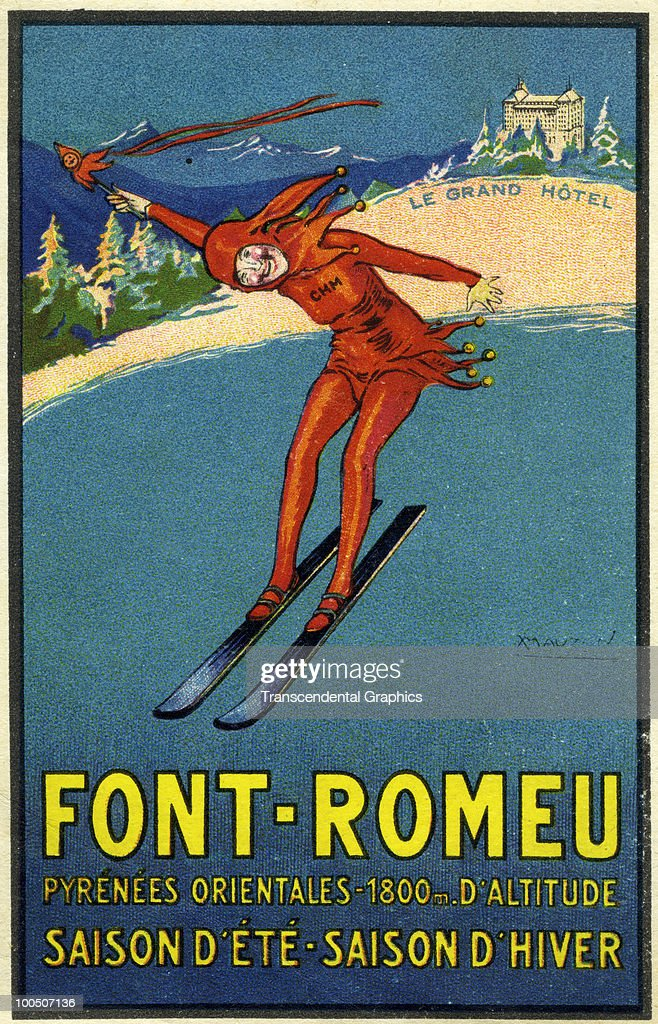 Postcard advertisment to promote the Font Romeu ski resort and it's various hotels, 1920.