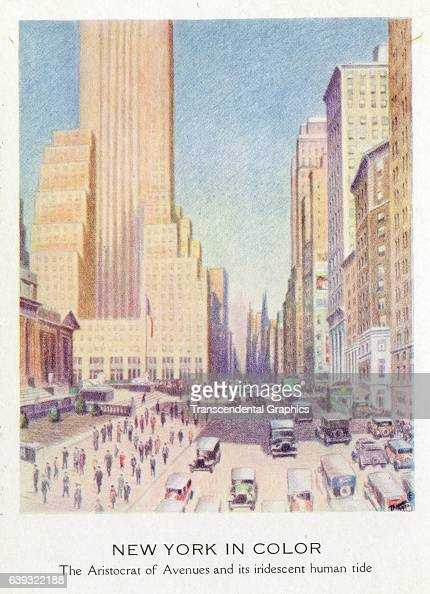 Postcard artwork shows a view looking north over midtown Manhattan New York New York 1932