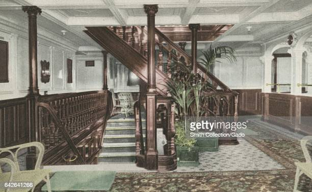 Postcard depicting the entrance and main staircase of the RMS Olympic 1914 From the New York Public Library