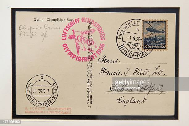 A postcard dropped from the Hindenburg as it flew over the 1936 Berlin Olympics opening ceremonies is displayed before a hearing of the House...