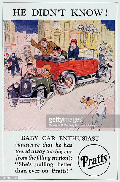 Postcard featuring a cartoon by Ridgewell one of a series of seven postcards advertising Pratts petrol A small car is shown towing away a much larger...