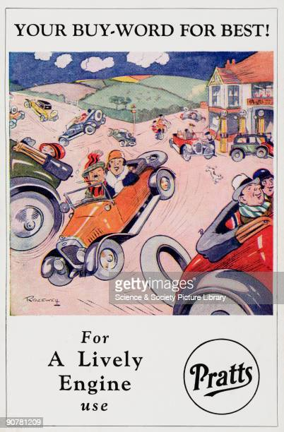 Postcard featuring a cartoon by Ridgewell one of a series of seven postcards advertising Pratts petrol
