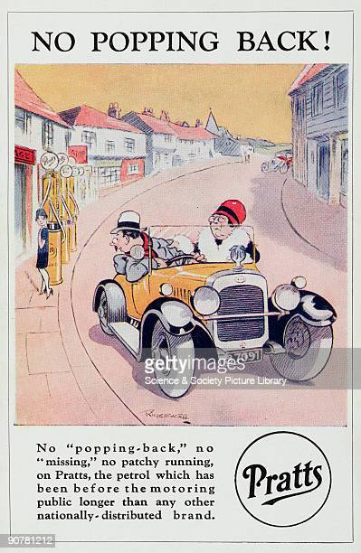 Postcard featuring a cartoon by Ridgewell one of a series of seven postcards advertising Pratts petrol The illustration shows a car pulling away from...