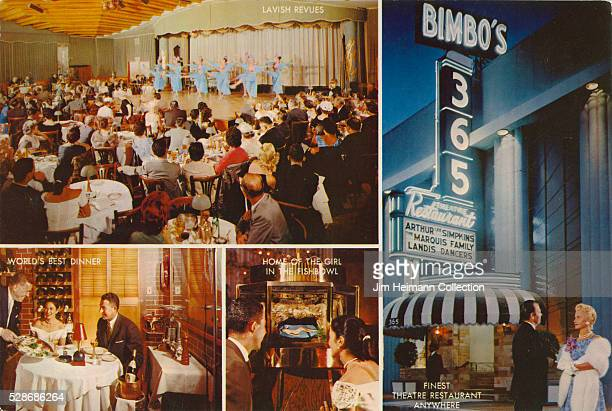 Postcard featuring photographs of performance dining table and exterior of Bimbo's 365 Restaurant at night