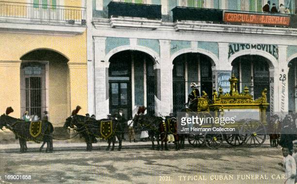 A postcard for Cuba reads 'Typical Cuban Funeral Car' from 1910 in Cuba