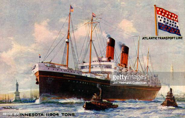 Postcard for SS Minnesota by Atlantic Transport Line from 1928 in USA