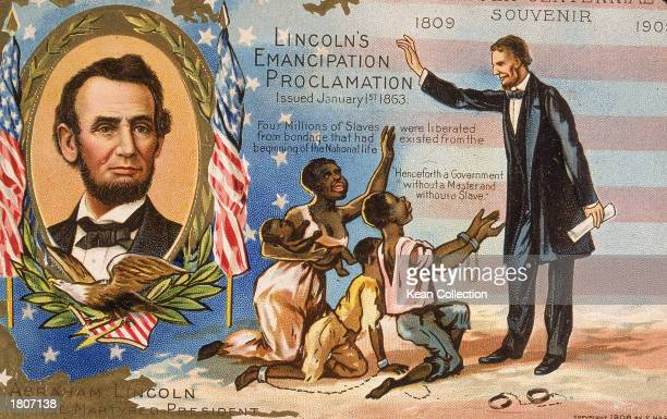 Postcard honoring president Abraham Lincoln for his Emancipation Proclamation freeing slaves 1863