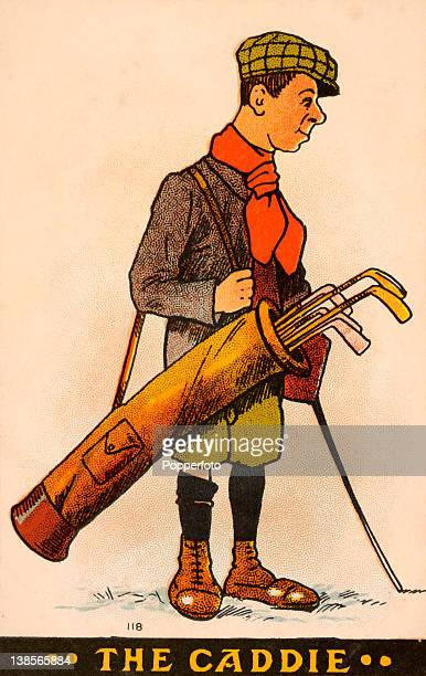 Postcard illustration featuring a golf caddie published circa 1904