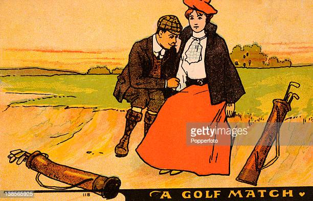 Postcard illustration featuring a romantic golfing scene published circa 1904