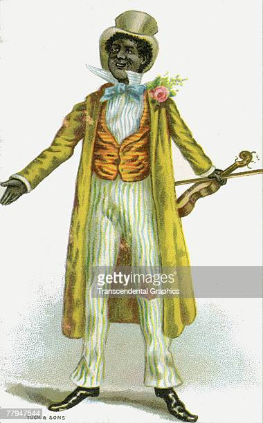 Postcard illustration shows a performer in a blackface minstrel show as he holds a violin 1880s The image was printed by Londonbased Raphel Tuck Sons
