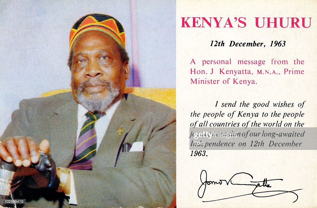 A postcard issued by the government of Jomo Kenyatta to mark Kenya's formal independence on 12th December 1963. The message reads ' I send the good wishes of the people of Kenya to the people of all countries in the World on the joyous occasion of our long-awaited independence on 12th December 1963'.