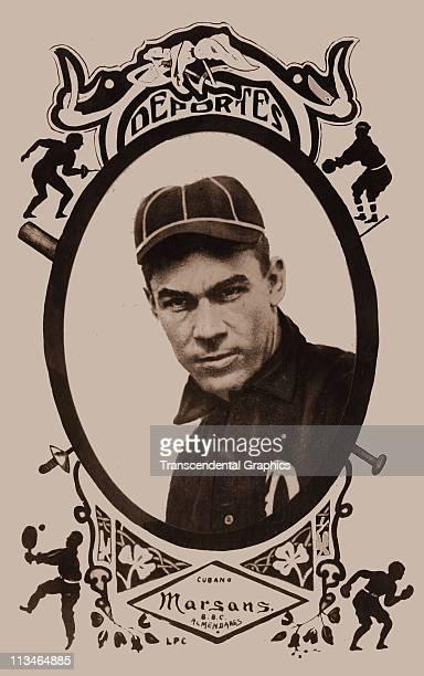 Postcard of the Cuban baseball star Armando Marsans of the Almendares team from circa 1907 in Havana Cuba
