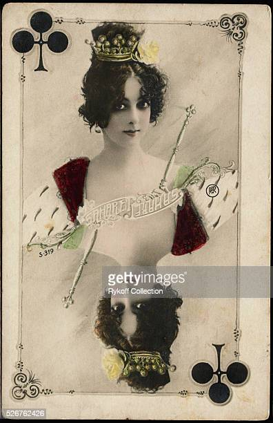 A postcard of the French dancer Saharet as Queen of Clubs | Located in Rykoff Collection