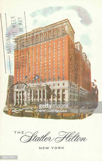 Postcard of the Statler Hilton hotel with postmark New York City New York 1930