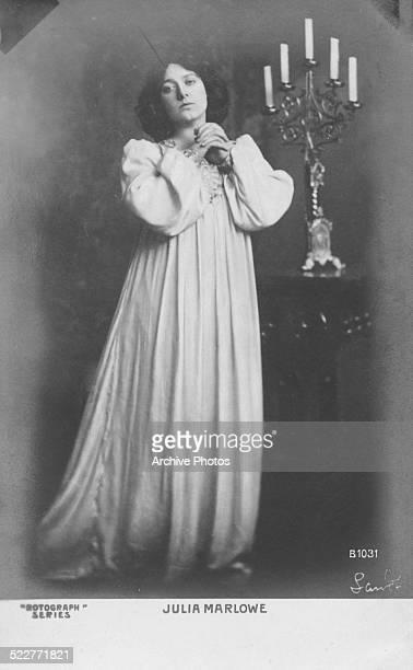 Postcard portrait of actress Julia Marlowe wearing a long nightgown circa 1890