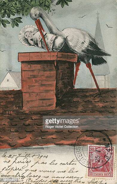 A postcard shows newborn baby dropped in the chimney by a stork The postcard was mailed from Weiterswiller with a stamp of the German occupation July...