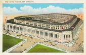 A postcard sold at Yankee Stadium in 1923 shows an artist rendering of how the completed stadium will look when finished at the corner of 161st...