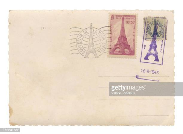 Postcard with Eiffel Tower stamps