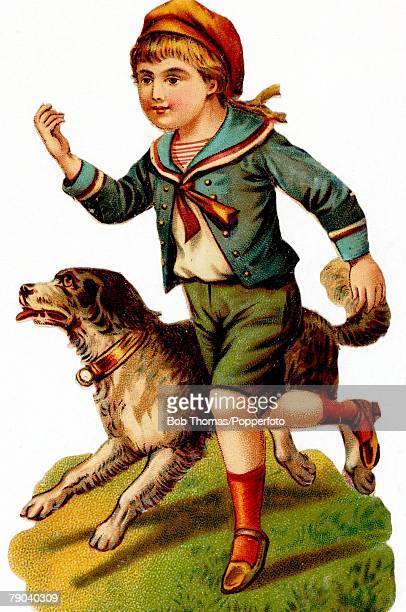 Postcards Circa 1900 A colour illustration of a small boy wearing fashionable sailor style clothing whilst running with his dog