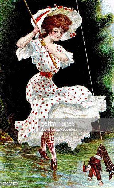 Postcards Circa 1915 A colour illustration of a smartly dressed lady wearing a posh red pokerdot white dress and large flamboyant hat whilst fishing...