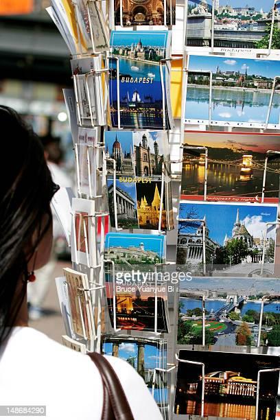 Postcards for sale in Vaci Utca.