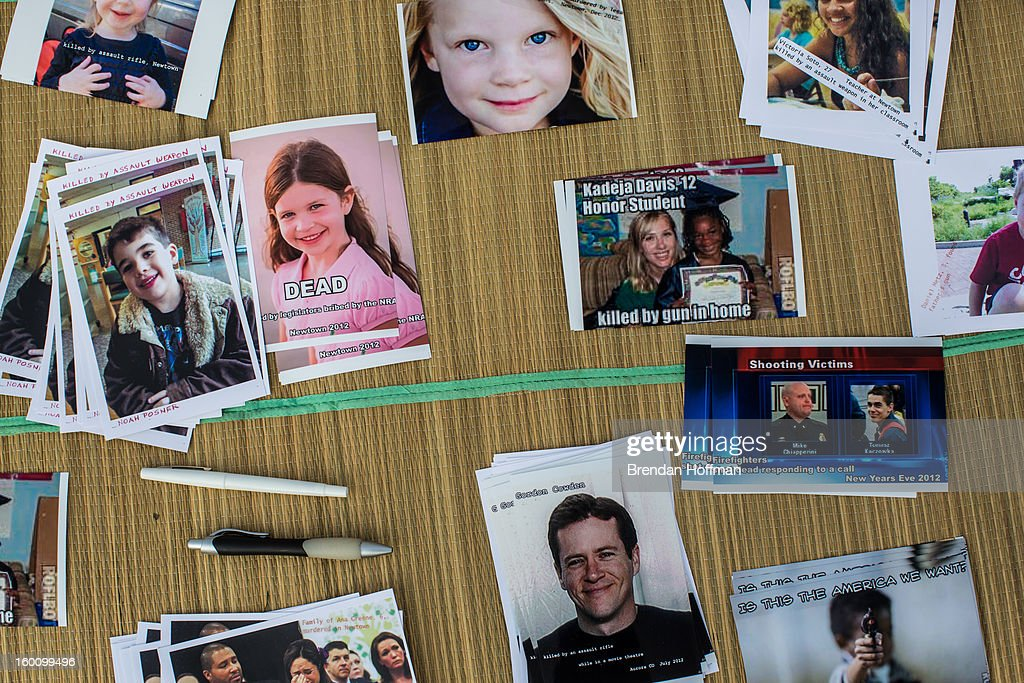 Postcards meant to be mailed to members of Congress advocating for stricter gun control laws are displayed at a rally on the National Mall on January 26, 2013 in Washington, DC. Demonstrators included survivors of the shooting at Virginia Tech, Newtown, Connecticut, and others.