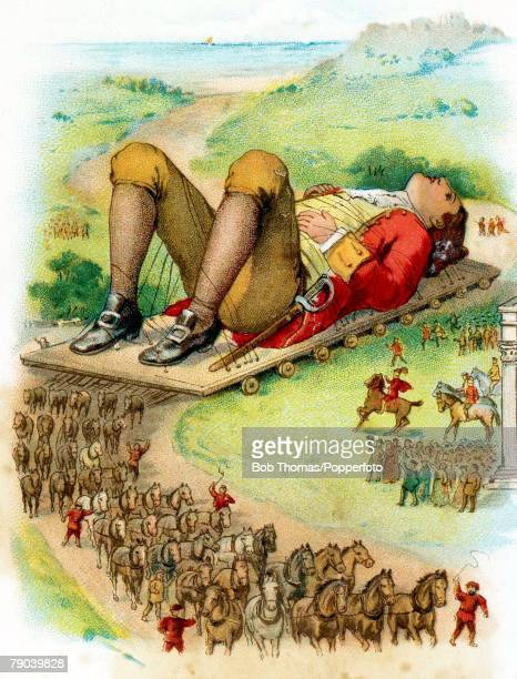 Postcards Produced Circa 1900 The fictional story of Gullivers travels A colour illustration of Mr Lemuel Gulliver tied down after having been...
