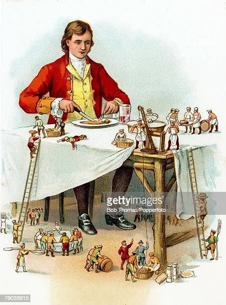 Postcards Produced Circa 1900 The fictional story of Gullivers travels A colour illustration of Mr Lemuel Gulliver who is eating his meal of which...