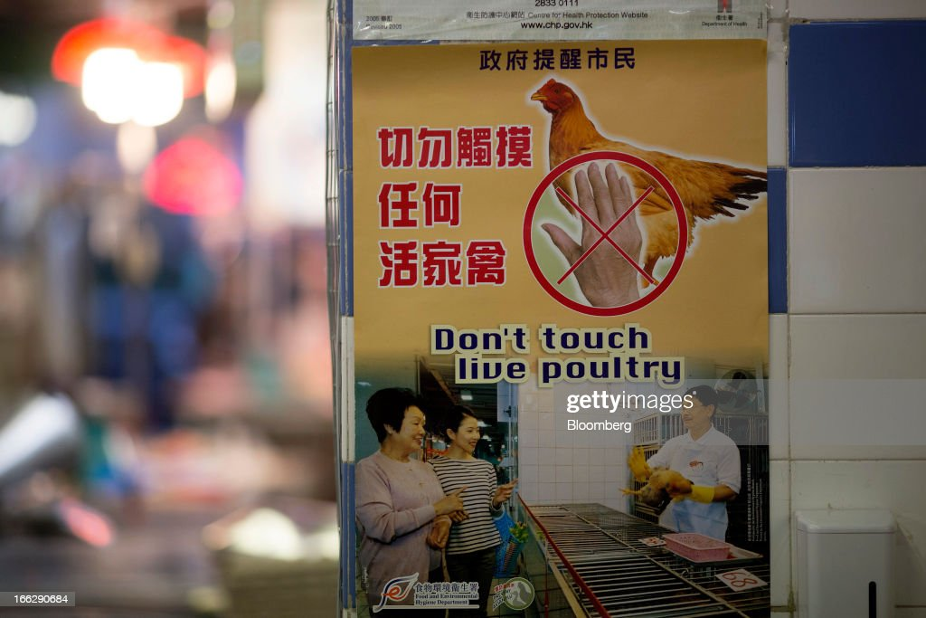 A poster about live poultry issued by Hong Kong's Food and Environmental Hygiene Department is displayed at the Kowloon City Market in Hong Kong, China, on Thursday, April 11, 2013. The Hang Seng Index rose 0.8 percent to 22,220.65 as of 1:14 p.m. in Hong Kong, headed for its longest winning streak since March 27. The gauge is close to erasing last week's loss prompted by the outbreak of a new strain of bird flu in China. Photographer: Jerome Favre/Bloomberg via Getty Images