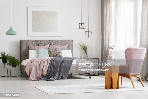 Poster above bed : Stock Photo