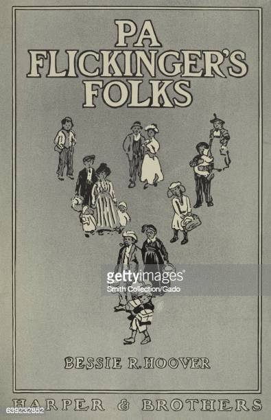 Poster advertisement for a book titled PA Flickinger's Folks by Bessie R Hoover which depicts people standing in a triangular formation 1903 From the...